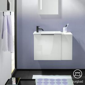 Burgbad Eqio Handwaschbecken mit Waschtischunterschrank mit 1 Klappe mit offenem Fach Front weiß hochglanz/weiß matt / Korpus weiß glanz, Griff schwarz matt