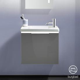 Burgbad Eqio Handwaschbecken mit Waschtischunterschrank mit LED-Beleuchtung mit 1 Klappe Front grau hochglanz / Korpus grau glanz, Griff chrom