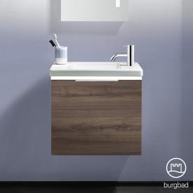 Burgbad Eqio Handwaschbecken mit Waschtischunterschrank mit LED-Beleuchtung mit 1 Klappe Front marone trüffel dekor / Korpus marone trüffel dekor, Griff chrom