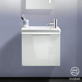 Burgbad Eqio Handwaschbecken mit Waschtischunterschrank mit LED-Beleuchtung mit 1 Klappe Front weiß hochglanz / Korpus weiß glanz, Griff chrom