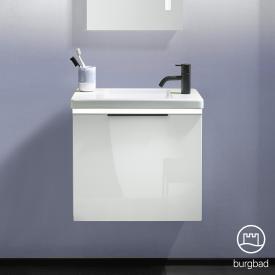Burgbad Eqio Handwaschbecken mit Waschtischunterschrank mit LED-Beleuchtung mit 1 Klappe Front weiß hochglanz / Korpus weiß glanz, Griff schwarz matt