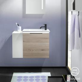 Burgbad Eqio Handwaschbecken mit Waschtischunterschrank mit LED-Beleuchtung mit 1 Klappe mit offenem Fach Front eiche flanell dekor/weiß matt / Korpus eiche flanell dekor, Griff schwarz matt