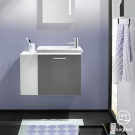 Burgbad Eqio Handwaschbecken mit Waschtischunterschrank mit LED-Beleuchtung mit 1 Klappe mit offenem Fach Front grau hochglanz / Korpus grau glanz, Stangengriff chrom