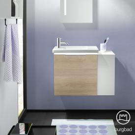Burgbad Eqio Handwaschbecken mit Waschtischunterschrank mit LED-Beleuchtung mit 1 Klappe mit offenem Fach Front eiche cashmere dekor / Korpus eiche cashmere dekor, Griff chrom