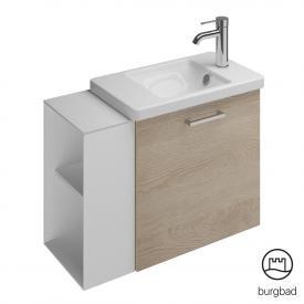 Burgbad Eqio Keramik Waschtisch Mit Waschtischunterschrank Mit 1 Klappe Mit  Offenem Fach Front Eiche Cashmere