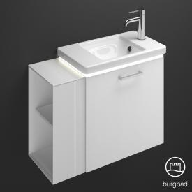 Burgbad Eqio Keramik-Waschtisch mit Waschtischunterschrank mit LED-Beleuchtung mit 1 Klappe mit offenem Fach Front weiß hochglanz / Korpus weiß glanz, Stangengriff chrom
