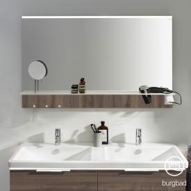 Burgbad Eqio Spiegel mit horizontaler LED-Aufsatzleuchte und Ablage marone trüffel dekor