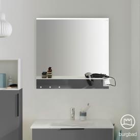Burgbad Eqio Spiegel mit horizontaler LED-Aufsatzleuchte und Ablage grau glanz