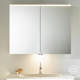 Burgbad Eqio Spiegelschrank mit LED-Beleuchtung weiß glanz, mit Waschtischbeleuchtung