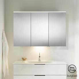 Burgbad Eqio Spiegelschrank mit LED-Beleuchtung weiß glänzend, mit Waschtischbeleuchtung