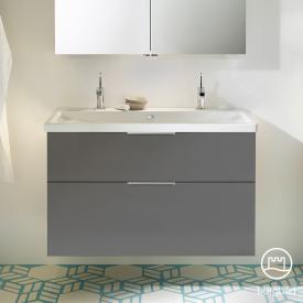 Burgbad Eqio Waschtisch mit Waschtischunterschrank mit 2 Auszügen Front grau hochglanz / Korpus grau glanz, Griff chrom