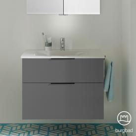 Burgbad Eqio Waschtisch mit Waschtischunterschrank mit 2 Auszügen Front grau hochglanz / Korpus grau glanz, Griff schwarz matt