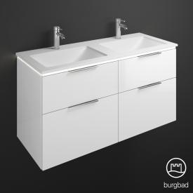 Burgbad Eqio Doppel-Waschtisch mit Waschtischunterschrank mit LED-Beleuchtung mit 4 Auszügen Front weiß hochglanz / Korpus weiß glanz, Griff chrom