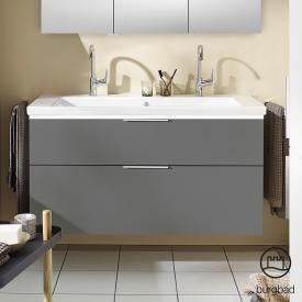Burgbad Eqio Doppelwaschtisch mit Waschtischunterschrank mit LED-Beleuchtung mit 2 Auszügen Front grau hochglanz / Korpus grau glanz, Griff chrom