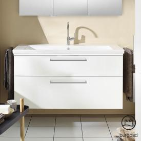 Burgbad Eqio Waschtisch mit Waschtischunterschrank mit LED-Beleuchtung mit 2 Auszügen Front weiß hochglanz / Korpus weiß glanz, Stangengriff chrom