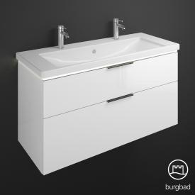 Burgbad Eqio Waschtisch mit Waschtischunterschrank mit LED-Beleuchtung mit 2 Auszügen Front weiß hochglanz / Korpus weiß glanz, Stangengriff schwarz matt