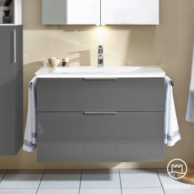 Burgbad Eqio Waschtisch mit Waschtischunterschrank mit LED-Beleuchtung mit 2 Auszügen Front grau hochglanz / Korpus grau glanz, Griff chrom