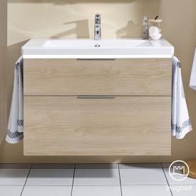 Burgbad Eqio Waschtisch mit Waschtischunterschrank mit LED-Beleuchtung mit 2 Auszügen Front eiche cashmere dekor / Korpus eiche cashmere dekor, Griff chrom