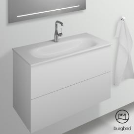 Burgbad Essence Waschtischunterschrank mit 2 Auszügen Front weiß hochglanz/Korpus weiß hochglanz