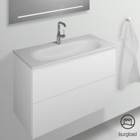 Burgbad Essence Waschtischunterschrank mit 2 Auszügen Front weiß matt/Korpus weiß  matt
