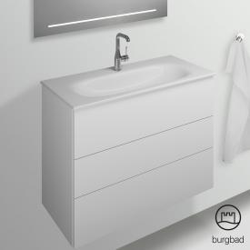 Burgbad Essence Waschtischunterschrank mit 3 Auszügen Front weiß hochglanz/Korpus weiß hochglanz