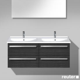 Burgbad Essento Waschtischunterschrank mit Doppelwaschtisch mit 4 Auszügen Front hacienda schwarz / Korpus hacienda schwarz / WT weiß