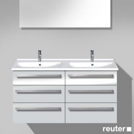 Burgbad Essento Waschtischunterschrank mit Doppelwaschtisch mit 6 Auszügen Front weiß hochglanz/Korpus weiß hochglanz/WT weiß