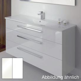 Burgbad Essento Waschtischunterschrank mit Waschtisch mit 3 Auszügen Front weiß hochglanz/Korpus weiß hochglanz/Waschtisch weiß