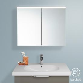 Burgbad Euro Spiegelschrank mit LED-Beleuchtung und 2 Türen Front verspiegelt / Korpus grau hochglanz