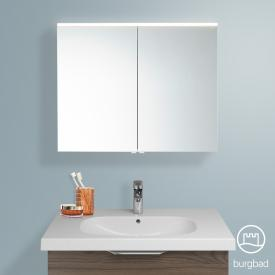Burgbad Euro Spiegelschrank mit LED-Beleuchtung und 2 Türen Front verspiegelt / Korpus marone trüffel dekor