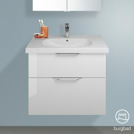 Burgbad Euro Waschtischunterschrank mit 2 Auszügen Front weiß hochglanz / Korpus weiß hochglanz