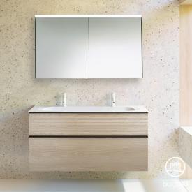 Burgbad Fiumo Badmöbel-Set Doppelwaschtisch mit Waschtischunterschrank und Spiegelschrank Front eiche cashmere dekor / Korpus eiche cashmere dekor, Griffleiste schwarz matt