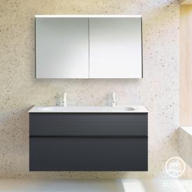 Burgbad Fiumo Badmöbel-Set Mineralguss-Waschtisch mit Waschtischunterschrank und Spiegelschrank Front graphit softmatt / Korpus graphit softmatt