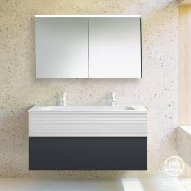 Burgbad Fiumo Badmöbel-Set Mineralguss-Waschtisch mit Waschtischunterschrank und Spiegelschrank Front graphit softmatt/weiß matt / Korpus graphit softmatt