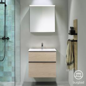 Burgbad Fiumo Badmöbel-Set Waschtisch mit Waschtischunterschrank und Spiegelschrank Front eiche cashmere dekor / Korpus eiche cashmere dekor, Griffleiste schwarz matt