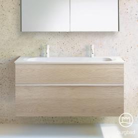 Burgbad Fiumo Doppelwaschtisch mit Waschtischunterschrank mit 2 Auszügen Front eiche cashmere dekor / Korpus eiche cashmere dekor