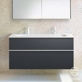 Burgbad Fiumo Doppelwaschtisch mit Waschtischunterschrank mit 2 Auszügen Front graphit softmatt / Korpus graphit softmatt