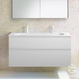 Burgbad Fiumo Doppelwaschtisch mit Waschtischunterschrank mit 2 Auszügen Front weiß matt / Korpus weiß matt