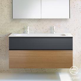 Burgbad Fiumo Doppelwaschtisch mit Waschtischunterschrank mit 2 Auszügen Front tectona zimt dekor/graphit softmatt / Korpus tectona zimt dekor
