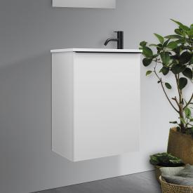 Burgbad Fiumo Handwaschbecken mit Waschtischunterschrank mit 1 Tür Front weiß matt / Korpus weiß matt, Griffleiste schwarz matt