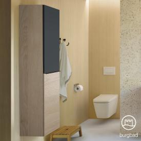 Burgbad Fiumo Hochschrank mit 2 Türen Front eiche cashmere dekor/graphit softmatt / Korpus eiche cashmere dekor