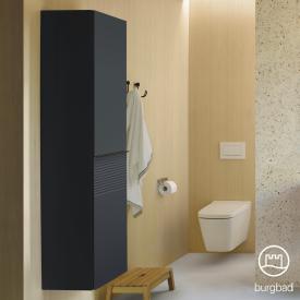 Burgbad Fiumo Hochschrank mit 2 Türen Front graphit softmatt / Korpus graphit softmatt