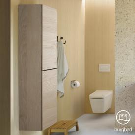 Burgbad Fiumo Hochschrank mit 2 Türen Front eiche cashmere dekor / Korpus eiche cashmere dekor