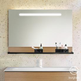 Burgbad Fiumo Leuchtspiegel mit horizontaler LED-Beleuchtung tectona zimt dekor, Reling schwarz