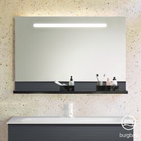 Burgbad Fiumo Leuchtspiegel mit horizontaler LED-Beleuchtung Front verspiegelt / Korpus graphit softmatt