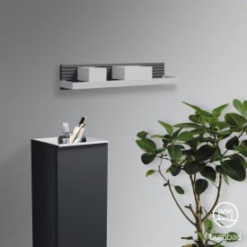 Burgbad Fiumo Wandboard mit Metallreling graphit softmatt, Reling weiß