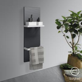 Burgbad Fiumo Wandpaneel, 2 Handtuchhalter graphit softmatt