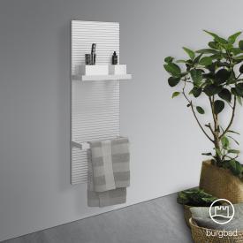Burgbad Fiumo Wandpaneel, 2 Handtuchhalter weiß matt