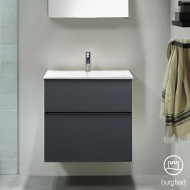 Burgbad Fiumo Waschtisch mit Waschtischunterschrank mit 2 Auszügen Front graphit softmatt / Korpus graphit softmatt