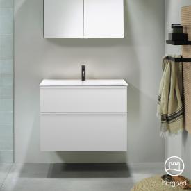 Burgbad Fiumo Waschtisch mit Waschtischunterschrank mit 2 Auszügen Front weiß matt / Korpus weiß matt